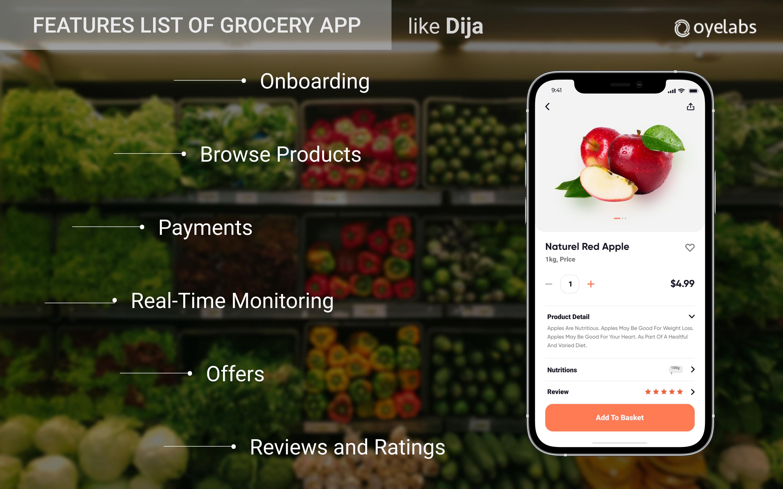 Features list for app like dija