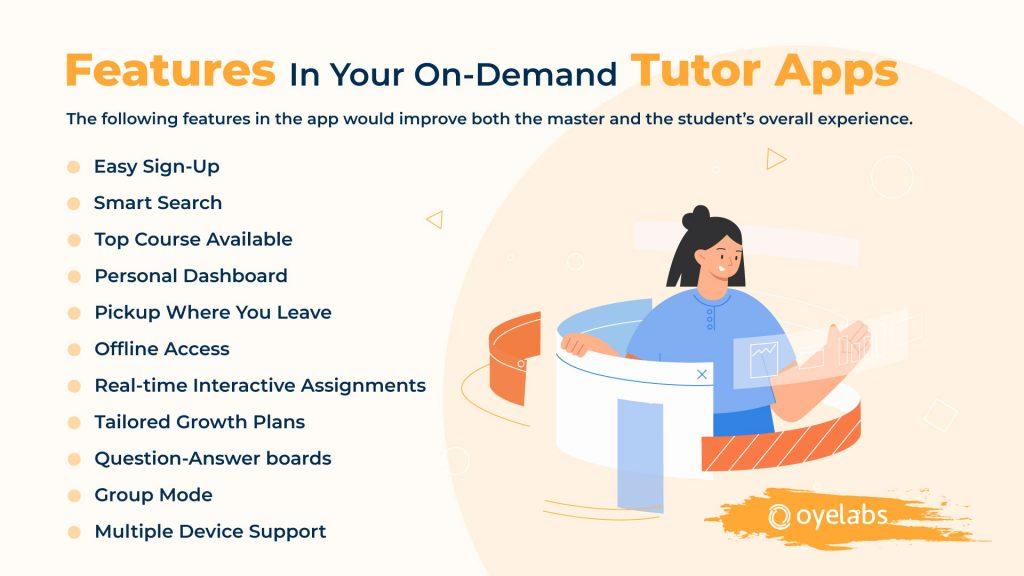 Features List On-Demand App For Tutors