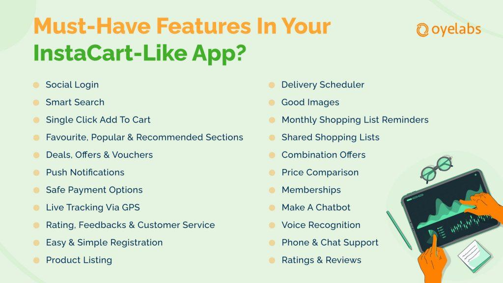 instacart shopper app features